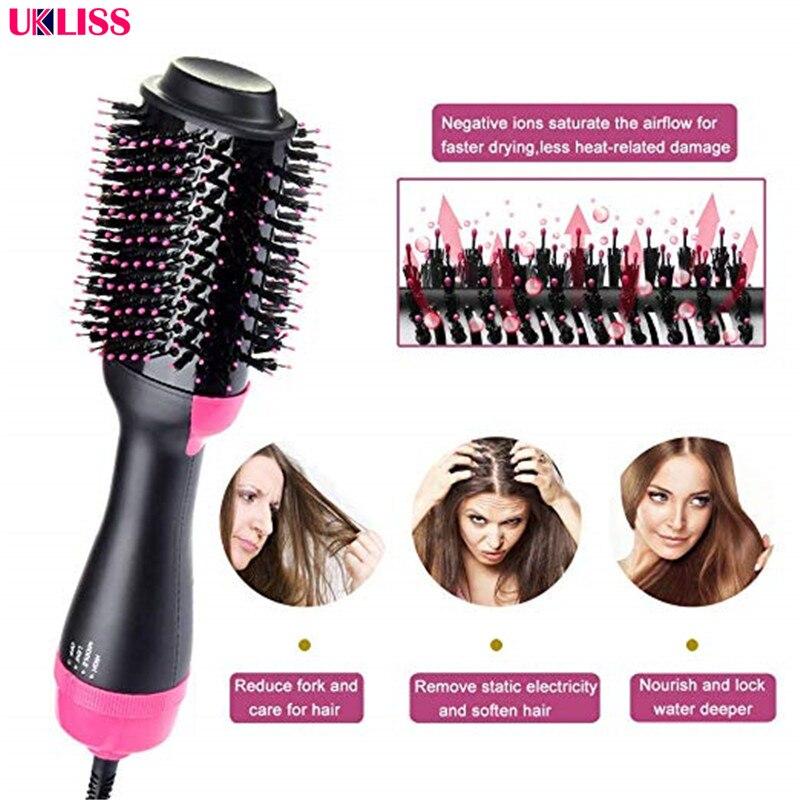 2 em 1 um passo secador de cabelo volumizer ion negativo alisamento escova salao de beleza