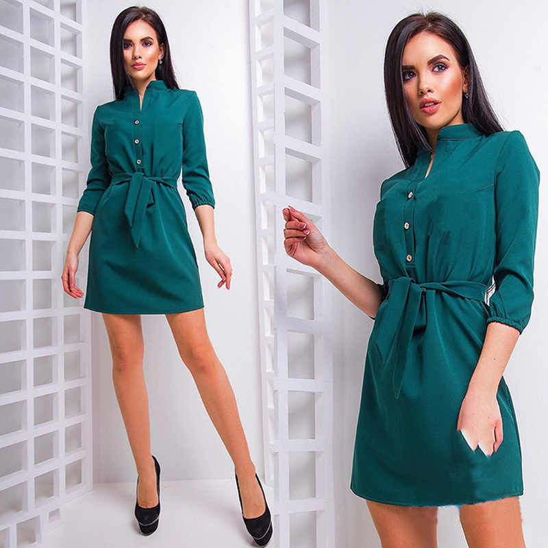 Summer Women Party Dresses 3/4 Sleeve Female Vestidos Stand Collar Loose Dress Elegant With Waist Band Blouse Dresses