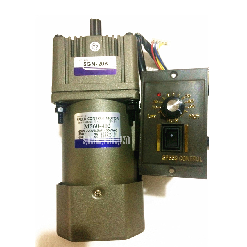 New M560-402/5GN-20K Single-phase AC Gear Speed Motor 110V/220V 50/60HZ Speed Control Motor With Speed Controller 60W 1350r/min поводок для собак happy friends нескользящий цвет красный ширина 1 5 см длина 2 м