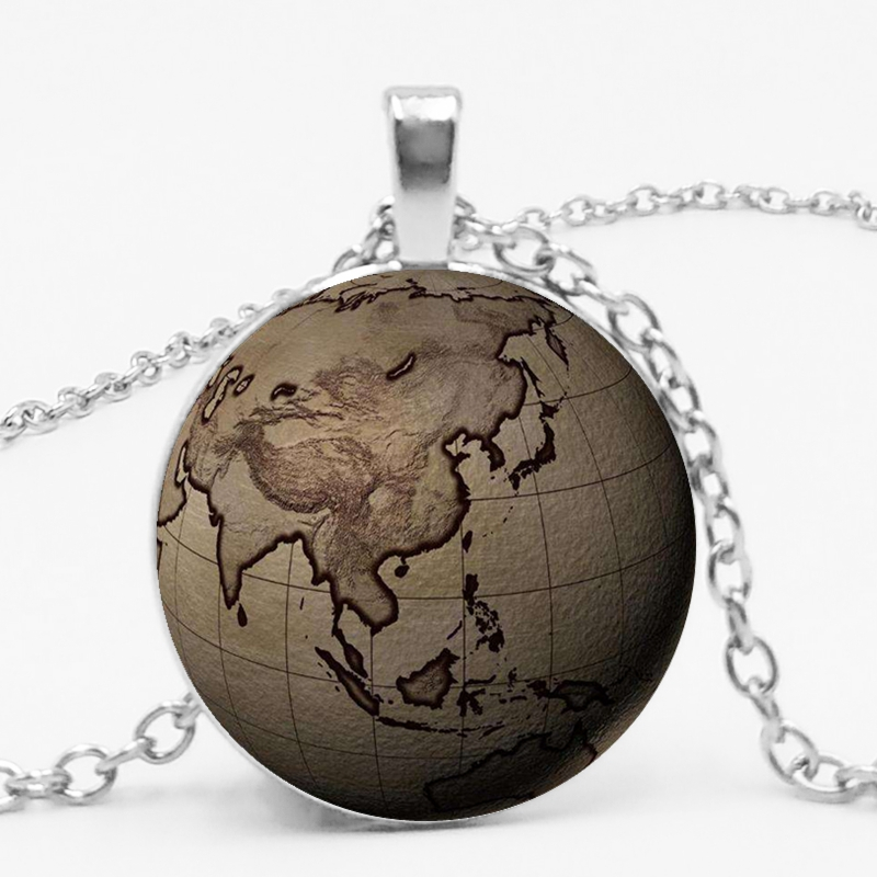 World Earth Map Seven Ocean Time Glass Gem Necklace Globe Pendant Necklace DIY Photo Custom Necklace Statement in Pendant Necklaces from Jewelry Accessories