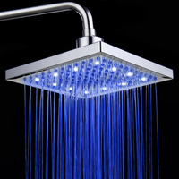 Rain Square Shower Head LED Color Changing Shower Head Bathtub Shower Head Bathroom Three color Washing Nozzle 8 Inches