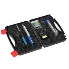 11 unids 60 W 220 V Termorregulador Kit de Herramientas de reparación de Soldadura de hierro Eléctrico de mano 5 unids Solder Tip + Bomba desoldadora + Pinzas