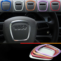 Car Styling Aluminum Interior Modified Sticker For Audi A4 A5 A6 Q7 Q5 Steering Wheel Decorative