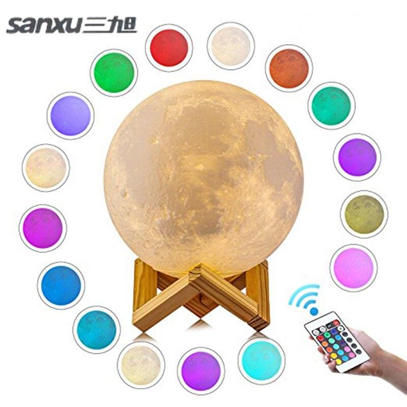 Sanxu Bewegungssensor 3d Nachtlicht Mond Lampe USB Led-leuchten für Hause Lampen Usb Led Lampe Luminaria Mond 16 Farben 2018 neue