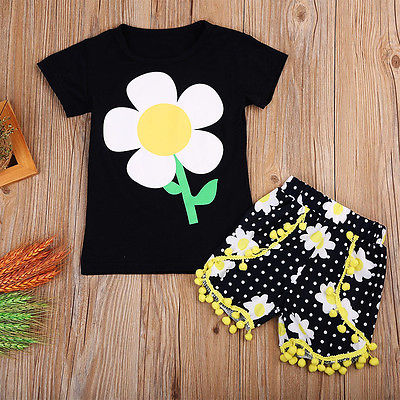 New 2017 Cute Toddler Kids Baby Girls Outfit sunflower T-shirt Tops+Pants  Clothes Set 2016 hot selling baby kids girls one piece sleeveless heart dots bib playsuit jumpsuit t shirt pants outfit clothes 2 7y