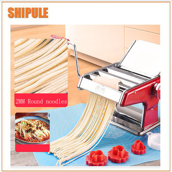 Stainless Steel Pasta Making Machine Red Siver Deluxe Pasta Machine Noodle Maker stainless steel 2 blades pasta making machine manual noodle maker hand operated spaghetti pasta cutter noodle hanger