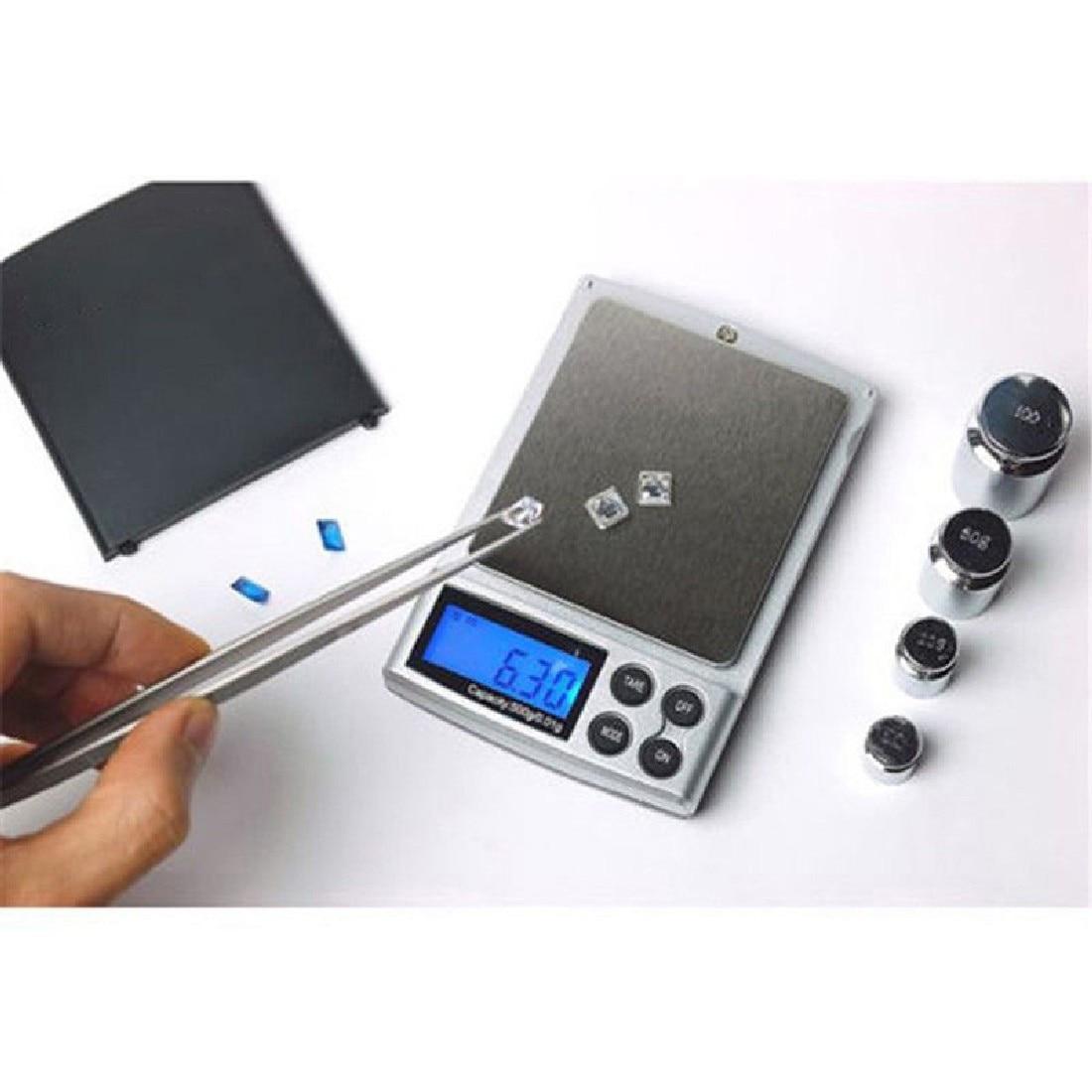 1vnt 500g x 0,01g skaitmeninės tikslios skalės aukso sidabro - Matavimo prietaisai - Nuotrauka 2