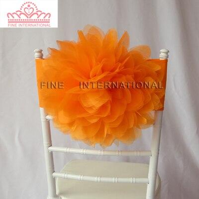 100 шт. Красочные Большой органзы цветок Большой розы лайкра Председатель группы председатель створки для свадьбы стул украшения - Цвет: Оранжевый