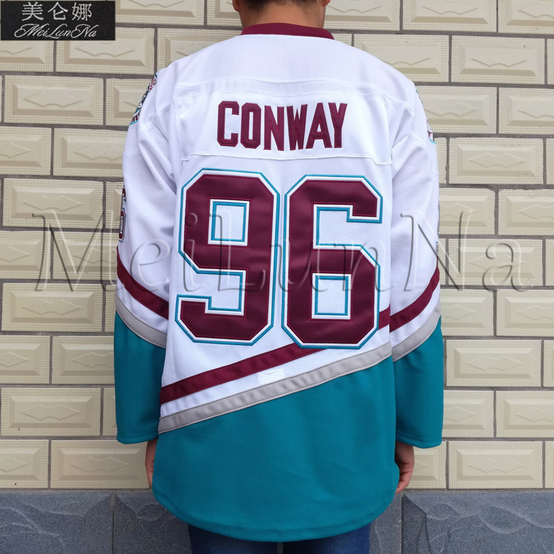 MeiLunNa Christmas Black Friday Mighty Team Ducks D3 Movie Jerseys #96 Charlie Conway Jersey 9603 White USA Blue Green meilunna christmas black friday mighty ducks movie jerseys 9 paul kariya jersey 0902 purple green white throwback