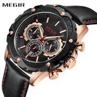 MEGIR Top Brand Luxury Wrist Watches For Men Relogio Masculino 24 Hour Second Chronograph Dial Quartz