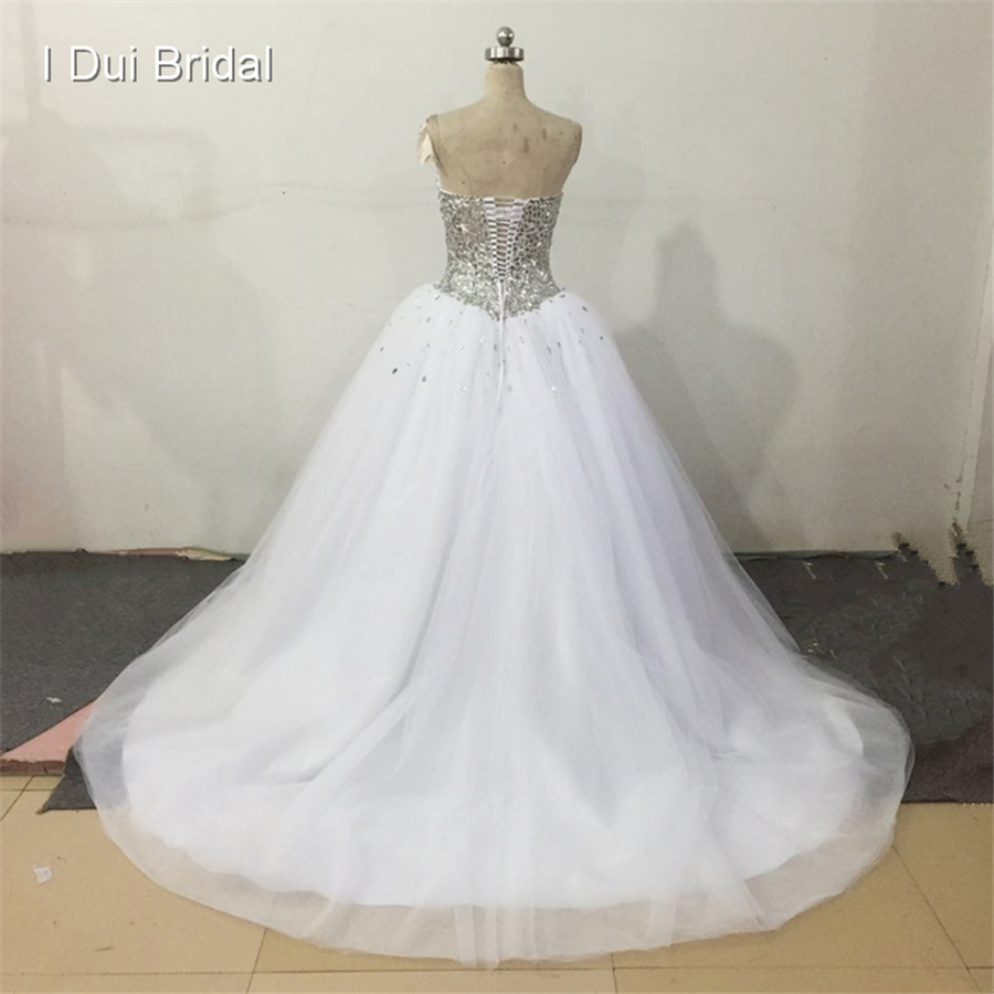 Long Sleeve Illusion Neck Luxury Rhinestone Beaded Ball Gown Wedding ...