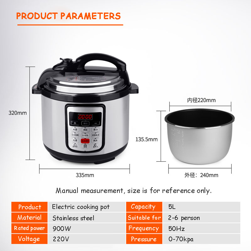 BETOHE 5L Stainless Steel Electric Pressure Cooker and Rice Cooking Pot 3