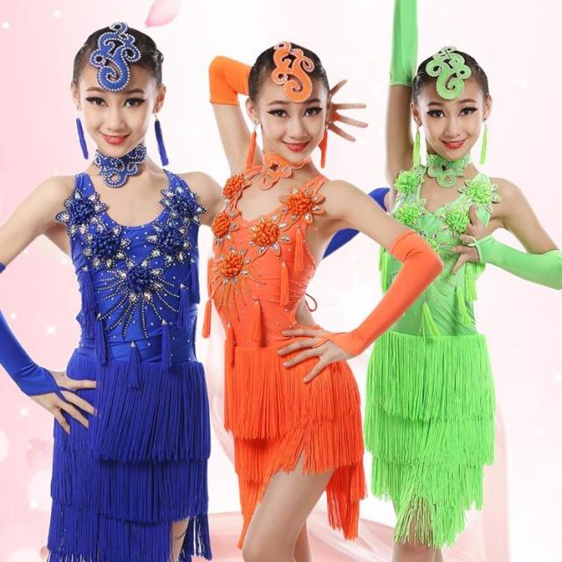 4-12Years Exquisite Rhinestone Flowers Girls Layered Tassel Dress Kids Ballroom Latin Dance Wear Childen Salsa Dance Costume 3colors 100 160cm height kids child girls tassel dress ballroom latin salsa fashion dancewear dance costume dresses gifts