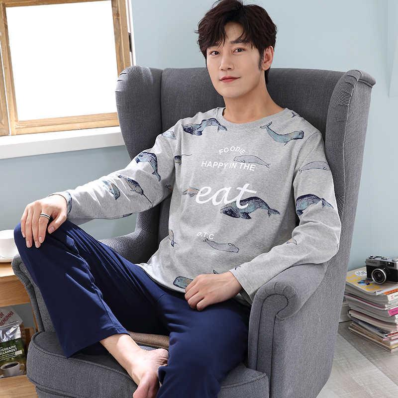 2018 Для мужчин пижамы с длинным рукавом Весна-осень-зима Мужская пижама  комплект Для 62989465a660c