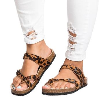 eb1ea1c07 Verano Mujer Sandalias 2019 moda leopardo Sandalias planas Sandalias de  playa chanclas Sandalia Feminina talla grande