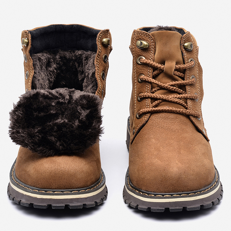 Full Grain Leather Men Winter Boots Size 38~50 Handmade Warm Men Winter Shoes #8988