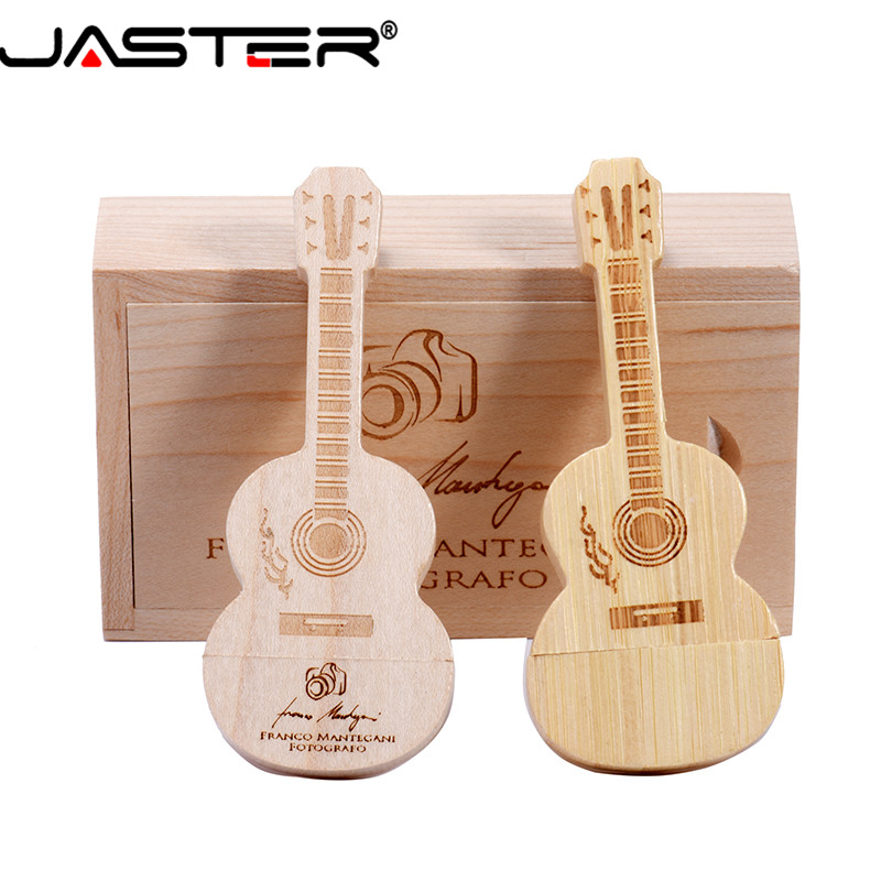 JASTER (free LOGO) Guitar Shaped Pen Drive Wooden Music Usb 2.0 Flash Drive Memory Stick Pendrive 4GB 16GB 32GB 64GB