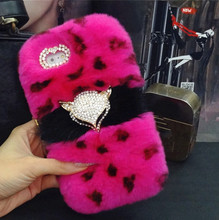 Newest Luxury Bling Fox head Warm Soft Beaver Rabbit Fur Hair phone cases for iphone4S 5s 5C 6/6P 7/7P protective phone back