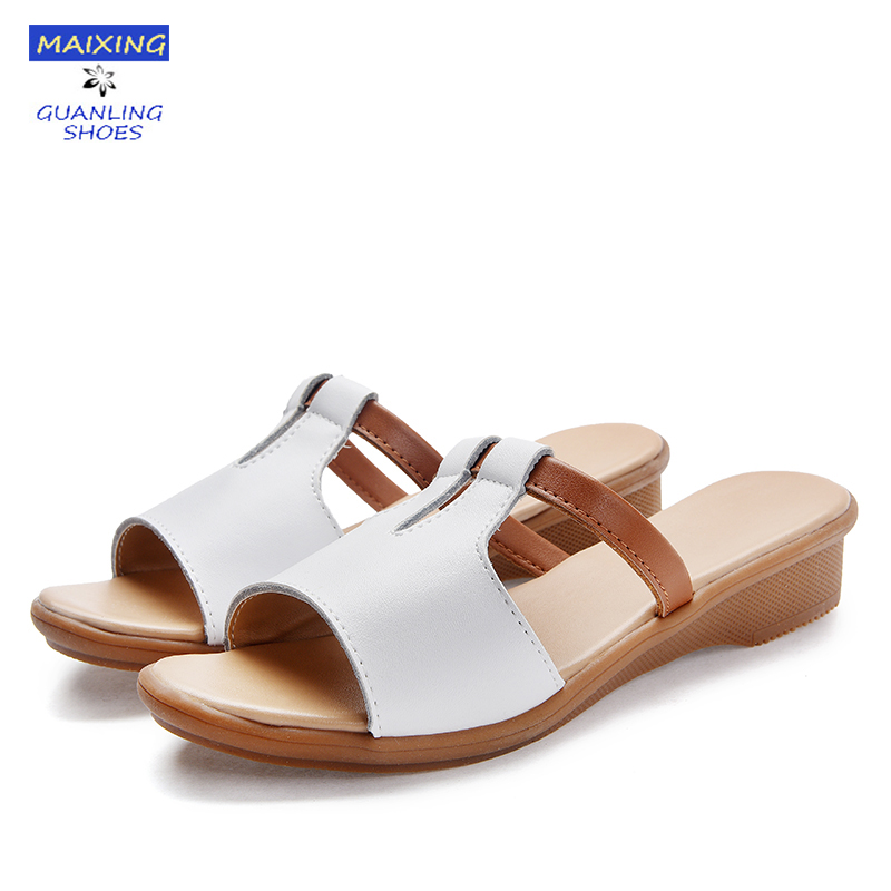 Sandals Beach House: Women Slippers Home Use Shoes Genuine Leather Flat Slides