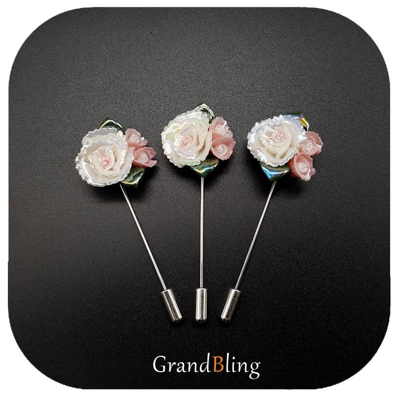 Épinglettes en céramique fait à la main fleurs oeillets fantaisie cadeau à la mère