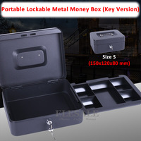 High Quality Size S 150x120x80 Mm 6 Mini Portable Cash Box Lockable Security Safe Box Durable