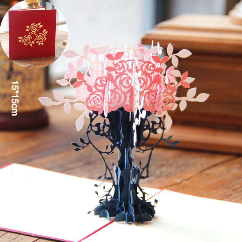 3D Pop Up Greeting Cards Gift For Birthday Mothers Day Thank You Cards Stereo Paper Cutting Handcrafted