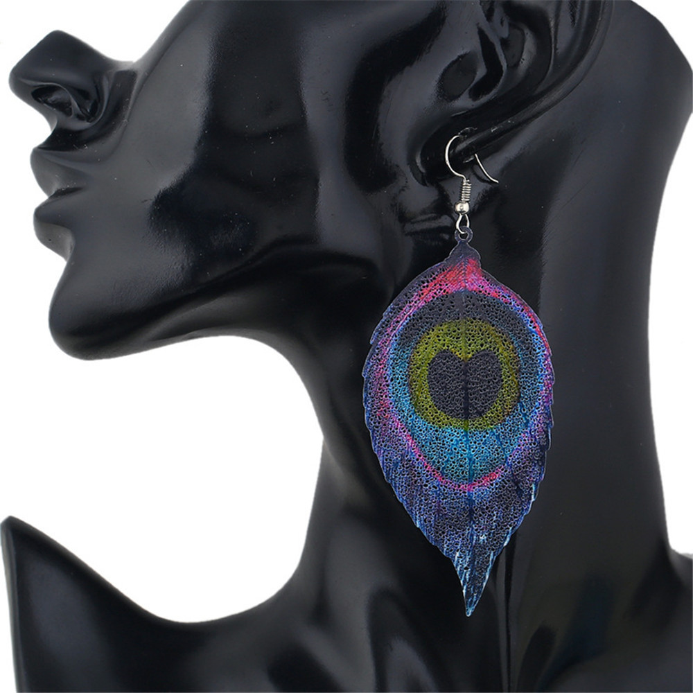 CRLEY Long Metal Feather Dangle Drop Earrings for Women Peacock Water Indian Style Jewelry