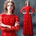 2017 Новая Мода Благородный Бисероплетение Изысканный Вышивка Красные Лепестки Celebirty Платье/Выпускные Платья BH786
