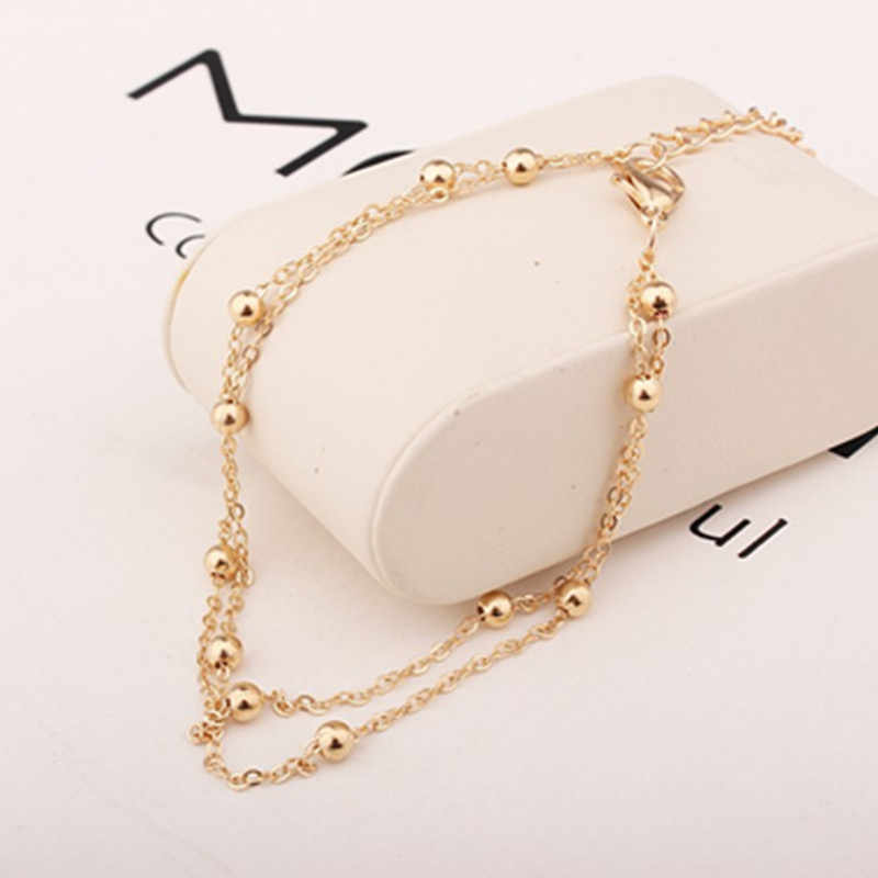 Hot popular Barefoot Beach Double Crystal Beads metal Chain Golden short Chain Bracelet Women's fashion jewelry  NS6