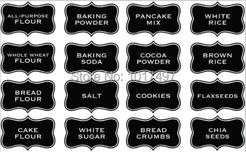Ukuran Besar 10x6 Cm Dapur Chalkboard Label Stiker Jar Dengan Huruf Vinil
