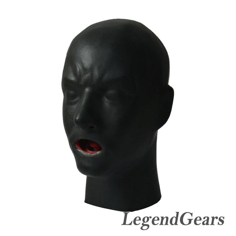 Latex human hood with tongue-1