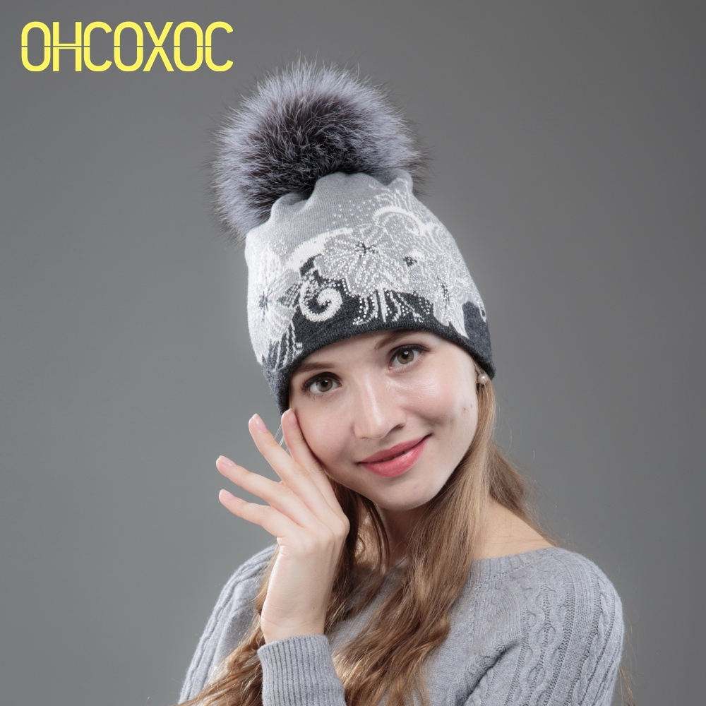 New Women Cashmere Winter Hats With  Real Fox Fur Pompom Beanies Floral Thermal Thick Wool Brand Mink Fur Winter Hat Brand New