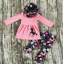 Pretty Floral Kids Girls Cotton Outfits Autumn Clothes Long Sleeve Flower Ruffles Tops Dress Striped Flare Pants 2Pcs Sets  2-7T цены