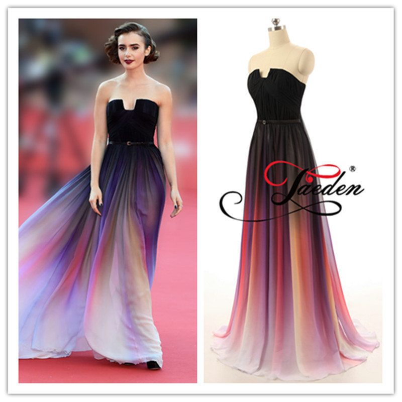 L264 Vestidos Lily Collins de Elie Saab Chiffon Prom Dress Evening ...