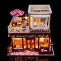 24 DIY De Madeira casa de Bonecas Em Miniatura 3D montado caixa + Música + Voice-activated luz Artesanal kits modelo de Construção caravana