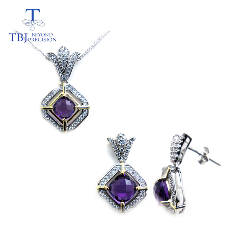 TBJ,The latest silver Jewelry set with africa amethyst pendant and earring for women Girls romantic gift with nice jewelry boxTBJ,The latest silver Jewelry set with africa amethyst pendant and earring for women Girls romantic gift with nice jewelry box