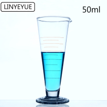 LINYEYUE 50mL Graduate Conical Glass Measuring Cup Measuring Glass Triangle Beaker Laboratory Cylinder Chemistry Equipment