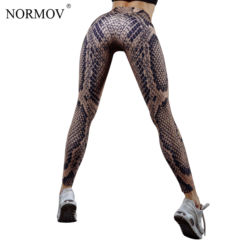 NORMOV Casual Digital Printed Leggings Women Sexy Push Up High Waist Trousers Female Workout Snake Print Skinny Legging Femme