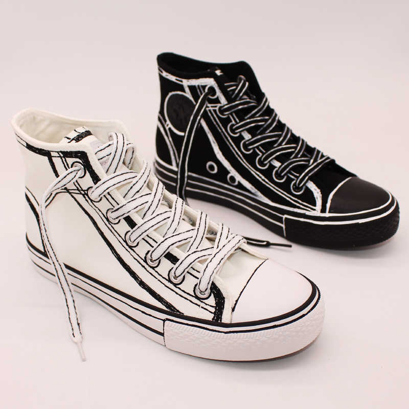130542ac2ee news 2018 autumn hand painted canvas shoes women high top fashion cool Casual  canvas shoes men