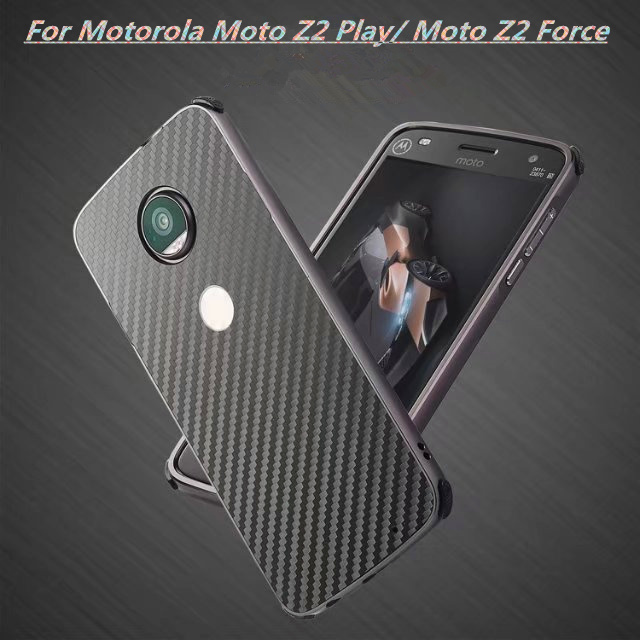 Coque on For Motorola Moto Z2 Play/ Moto Z2 Force Case Fashion Plating Metal Aluminum Bumper+Carbon Fiber 2in1 Hybrid Phone Case