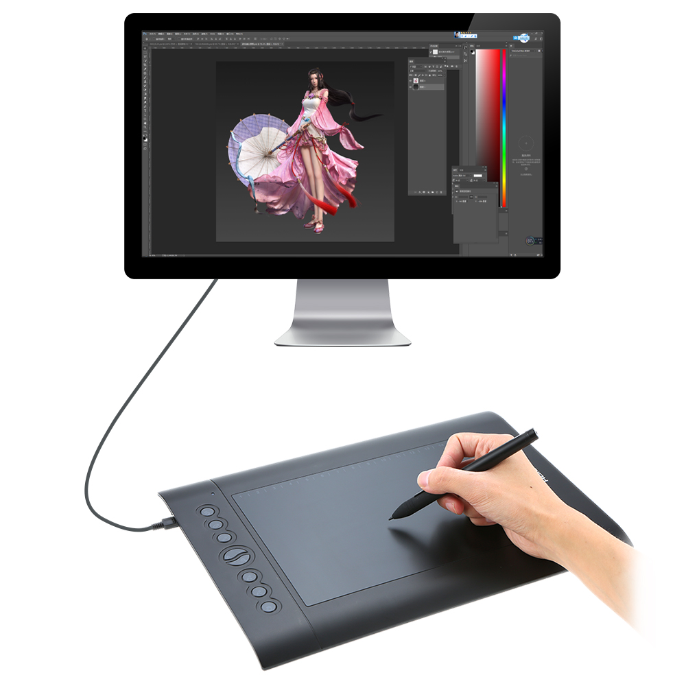 Huion USB Graphics Tablet H610 PRO H610 Pad Art Digital Board Rechargeable  Painting Drawing Pen as shown