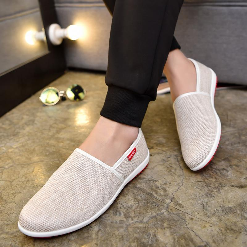 Fooraabo 2017 Hot Sale Men Casual Shoes Summer White Canvas Shoes