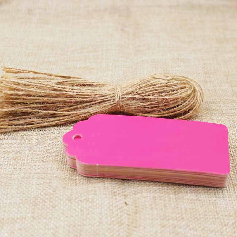 9.5*4.50CM hotpink paper cardboard luggage tag jewelry products /gift blank label packing show tag 100pcs+100hemp string