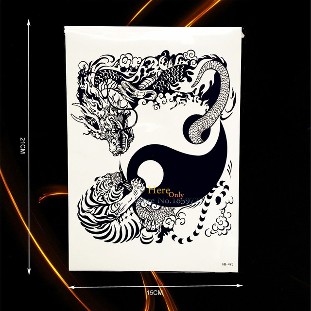 1pc Black Dragon Tiger Tai Ji Design Arm Tattoo Body Art Temporary