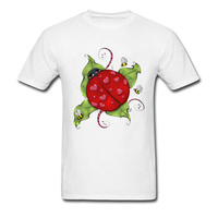 Love Bug mariquita 2018 criaturas naturales impreso hombres blanco camiseta algodón verano ropa Formal historieta encantadora