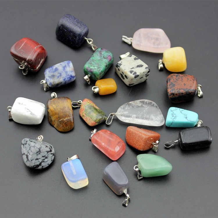 自然な色の石ネックレス不規則な 3D 石幾何宝石ネックレス卸売ヨーロッパやアメリカのファッションジュエリー