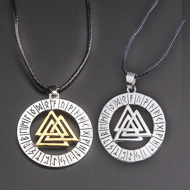 Fashion jewelry Nordic Viking Warriors Symbols Odin Norwegians Warrior Navia Myopic triangular Amulet Necklace