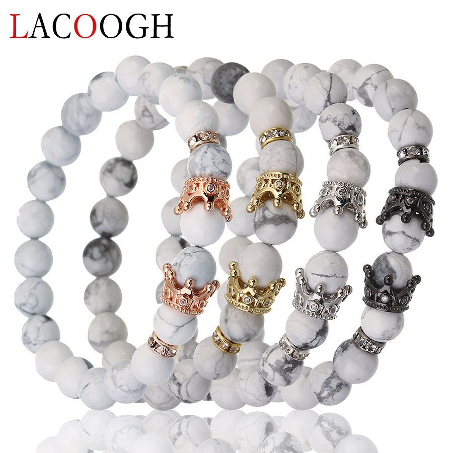 Lacoogh New Fashion Trendy Gold Color Beaded Bracelets for Women Mens Copper Zircon Natural Stone Crown Charms Bracelets Bangles