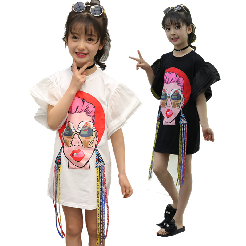 Alternative Fashion Style Dress 2018 Summer Girls Cartoon Beauty Patch Dresses Clothes Novelty Kids Flare Sleeve Tshirt Dress menoea girls dress new 2018 clothes 100% summer fashion style cartoon cute little white cartoon dress kitten printed dress