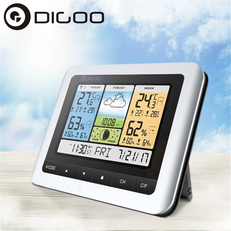 Digoo DG TH8888 Pro Wireless Sensor Weather Station Thermometer Hygrometer Home Thermometer USB Outdoor Forecast Clock|clock outdoor|clock usb|clock thermometer hygrometer - title=